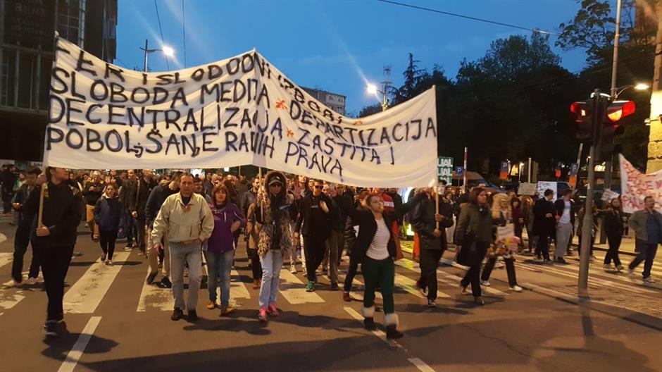 "PETNAESTI DAN PROTESTA ""PROTIV DIKTATURE"" U BEOGRADU"
