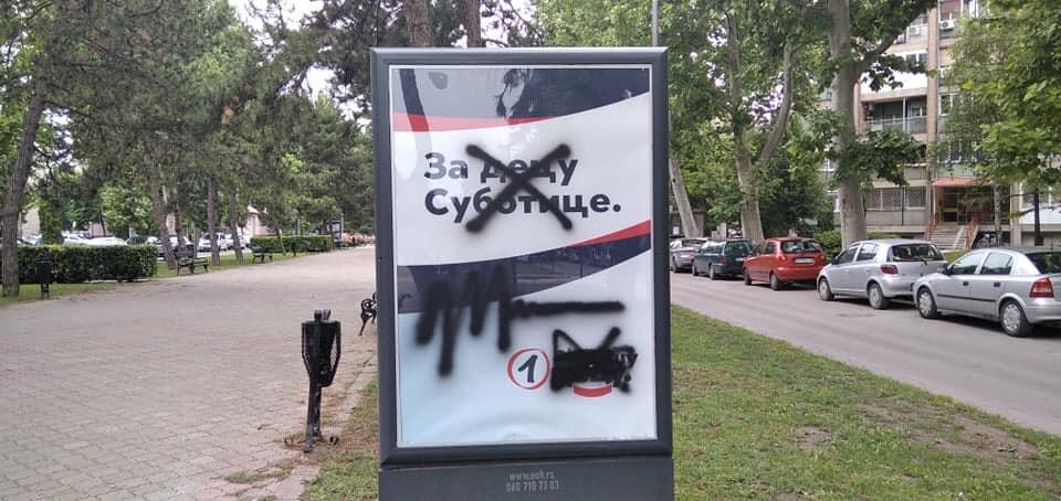 SVM osudio uništavanje reklamnih tabli SNS-a i poruke uvredljivog sadržaja