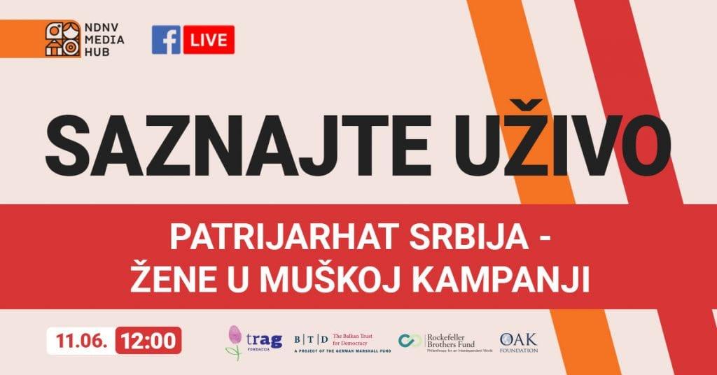 """Fejsbuk emisija NDNV-a """"Patrijarh Srbija – žene u muškoj kampanji"""" u četvrtak, 11. juna"""