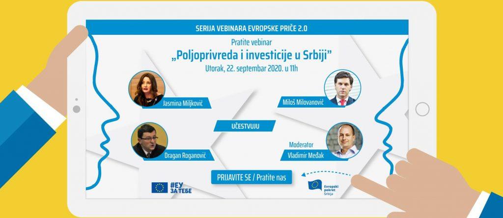 Evropski pokret u Srbiji najavljuje: Onlajn debata o poljoprivredi i investicijama u Srbiji 22. septembra