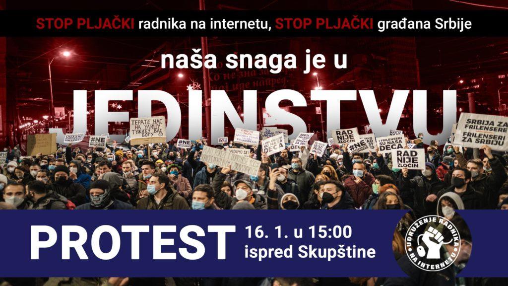 Novi protest frilensera najavljen za 16. januar, ovog puta ispred republičke Skupštine