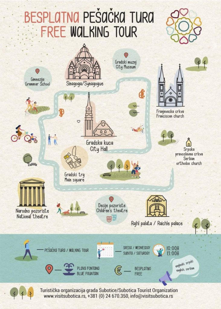 Turistička organizacija grada Subotice od subote, 24. aprila, ponovo organizuje garantovane pešačke ture